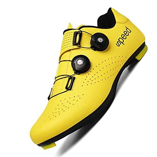 WYUKN Rennradschuhe Herren Fahrradschuhe Herren,Rennrad Fahrradschuhe Frauen Leicht Offroad Athletic,Yellow-40EU=(250mm)/6.5UK/7.5US