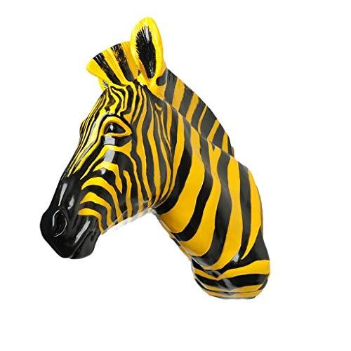 GCP Escultura de Arte Adorno Estatuilla Decoración del hogar Escultura Cebra Cabeza de Animal Colgante de Pared Resina Simulación Negro a Blanco Amarillo Negro 17.5 * 36.5 * 46cm Estatuas (Color