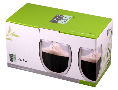 Feelino Aktion: 2X 400ml doppelwandige Thermo-Teegläser/Kaffeegläser Rondini extra groß mit Schwebeeffekt