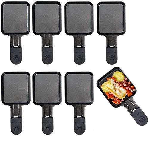 Set di 8 Padelle per Raclette, Piastra per Raclette Rivestimento Antiaderente, Nero