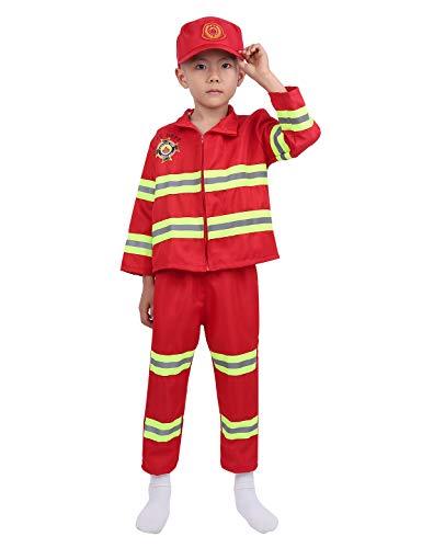 TiaoBug Disfraz Bomberos Nios Halloween Carnaval Uniforme Bombero Trabajo Costume Cosplay Fiesta con Gorro Disfraz de rol Actuacin Infntil Rojo 4-5 Aos