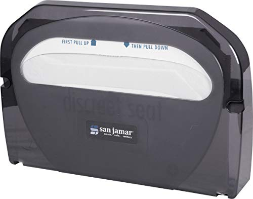 San Jamar TS510TBK Toilet Seat Cover Dispenser, Black Pearl