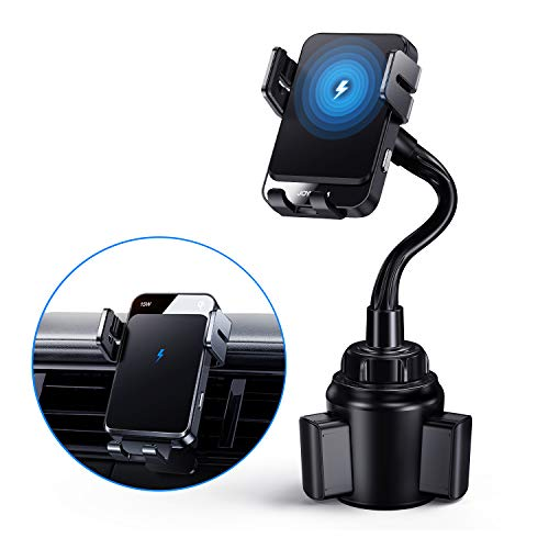 15W Wireless Car Charger Mount, Joyroom Cup Phone Holder Mount, Qi Fast Charging Auto Clamping Vent Car Mount for Cell Phone Fit for iPhone 12 Pro Max/12 Mini/12 Pro/12/11 Pro/XS/8/7, Samsung S10 etc