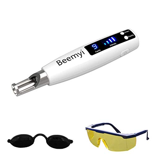 Cordless Blue Light Picosecond Pen - Handheld Picosecond Pen for Tattoo Scar Freckle Beauty Device with Safety Glasses and Eye Shield