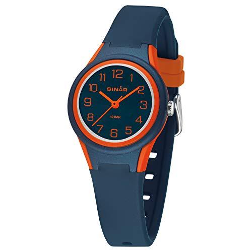SINAR Montre-bracelet de sport unisexe pour fille et garçon - Quartz analogique - 10 bar - Étanche - Bleu foncé et orange - XB-47-12
