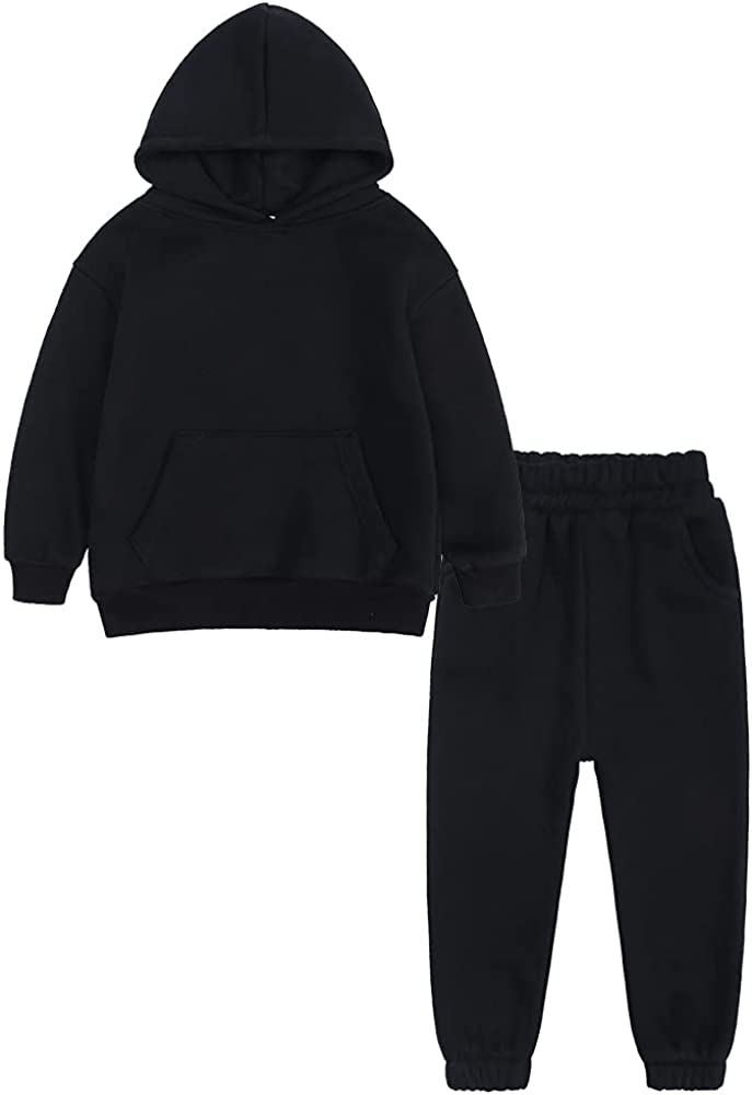 2Pcs Youth Brushed Fleece Tracksuit Thick Cotton Hooded Sweatsuit Kids Solid Color Pullover + Sweatpants Warm Outfits Set