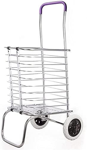 Eortzzpc Carrello a Mano 2/8 Ruote Carrelli carrelli carrelli Trolley Bagaglio Pieghevole Alluminio for Carrello for la casa Leggero e Forte,Carrello per Multiuso (Color : Silver)