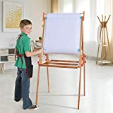 TTINA Kids Art Easel, Bamboo Black and White Board with Paper Roll-Double-Sided Drawing Easel-Dry Erase Board & Chalkboard Standing Adjustable Height Drawing Easel (Coffee, US Direct)