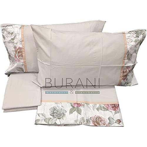 Fazzini - Sábana de franela con estampado de rombos 9 gris para cama de matrimonio (sora sábana de 260 x 295 cm + 1 sábana bajera de 180 x 200 x 30 cm + 2 fundas de almohada de 50 x 80 cm)
