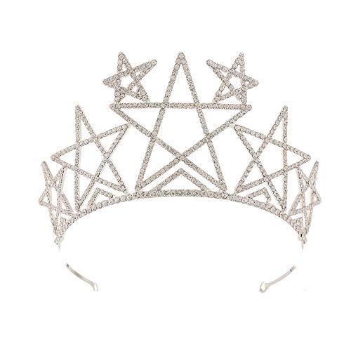 QSBR Diademe Für Damen Bridal Diamanten fünfzackigen Stern Krone Hochzeit Haarschmuck Krone Hochzeitskleid mit Zubehör