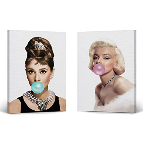 Audrey Hepburn and Marilyn Monroe Bubble Gum Chewing Gum Canvas Print Two-Piece Set/Home Decor/Icon Wall Art/Gallery Wrapped Canvas Art/Ready to Hang (12 x 8 x 2 Piece)