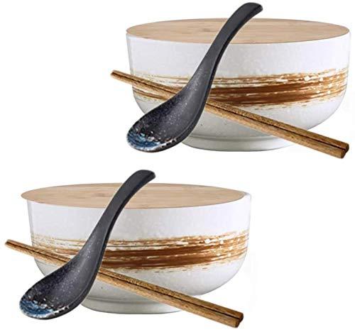 DZCGTP Juego de tazones de Ramen, Juego de 2 tazones de Sopa de Ramen de cerámica de 50 oz, tazón de Fideos de arroz de Estilo japonés con Tapa, Cuchara y Palillos, para Comida de Cocina
