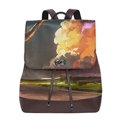 Flyup Download Cloud Sky Whale Women's Leather Backpack,Unique Design With Elegant Appearance Damen Leder Rucksack