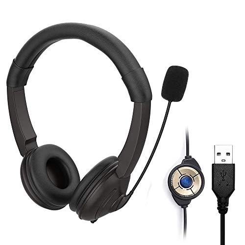 ARMYU PC Headset mit Mikrofon USB Headset Noise Cancelling & Lautstärkeregler, Computer Chat Headset für Skype, Webinar, Homeoffice, Gaming, e-Learning und Musik, Call Control, Ultra Komfort