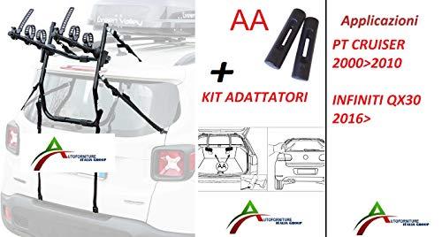 Portabicicletas montado y listo para usar (3 bicicletas) para puerta o maletero...