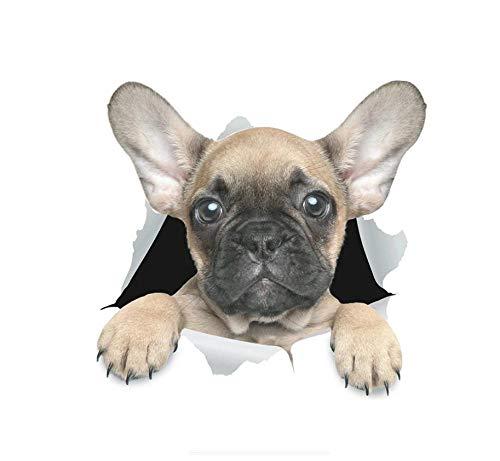 MDGCYDR Pegatinas Coche Divertido Perro 3D Lindo Bulldog Francés Automóviles Accesorios Exteriores Calcomanías De Vinilo para Pared Nevera Inodoro, 14 Cm * 13,4 Cm