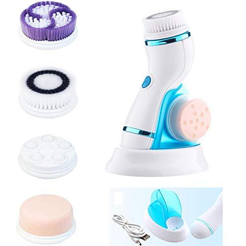 YHYGOO Limpiador Facial Eléctrico 4 En 1 Limpiador De Poros Ultrasónico USB Recargable Masaje De Cuerpo Completo Adecuado para Todo Tipo De Piel,Azul