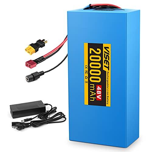 H HAILONG 48V 20AH Lithium Battery/48V Ebike Battery, ebike Battery 48V 20AH with 2A Charger, T-Plug, XT60 Connector and 30A BMS for 500W 750W 1000W Ebike Battery/Ebike Kit(48V 20ah)