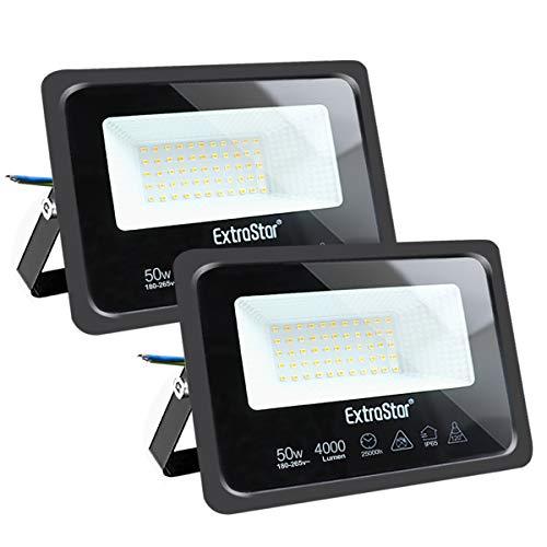 Focos LED exterior 50W Extrastar Potente Luces Led Exterior IP65, Luz de Seguridad Luz natural 4200K para Terraza, Jardín, Patio, Parque, Garaje [Clase de eficiencia energética A+]2 paquetes