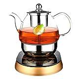 DelongKe Haushalt Alle Automatische Kaffeemaschine, Tragbare Große Kapazität Glas Elektrischen Teekessel Intelligente Wärmeschutz Teemaschine