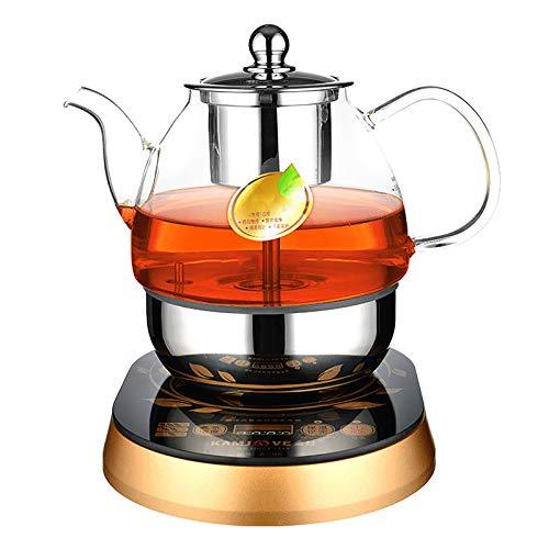 DelongKe Household All Automatic Coffee Machine, Portable Large Capacity Glass Electric Tea Kettle Intelligent Heat Preservation Tea Maker