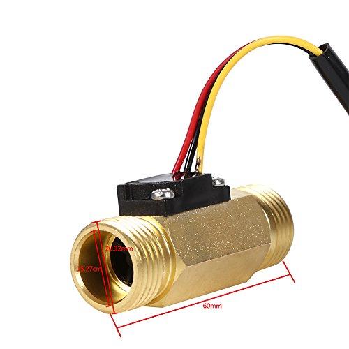 Aoutecen Medidor de Flujo de Interruptor de líquido Tipo G1 / 2 Medidor de Flujo de Sensor de Flujo de Agua G1 / 2 1-30L / min para Calentadores de Agua