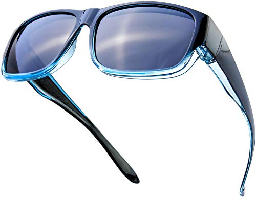 The Fresh High Definition Polarized Wrap Around Shield Sunglasses for Prescription Glasses 66mm Gift Box (410-Black/Blue Green, Grey)