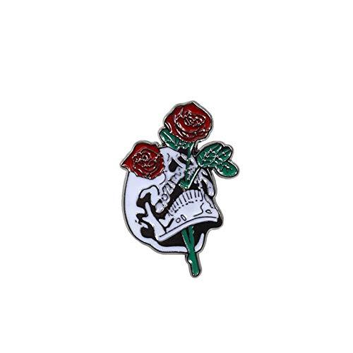 Brosche im Punk-Stil, Zauberer, Vampir-Rose, Jeansjacke, Rosenmotiv