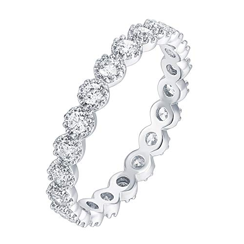 PAVOI 14K White Gold Plated Sterling Silver Rings Cubic Zirconia Band | Marquise Milgrain Eternity Bands | White Gold Rings for Women Size 8