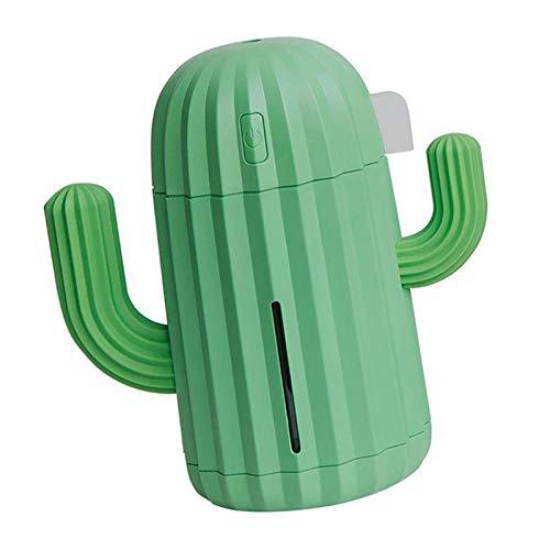 Mini humidificador – Mini purificador de aire, creativo, nuevo cactus USB Humidificador, portátil, máquina de escritorio con luz LED nocturna para alérgicos y fumadores, asma, guardería