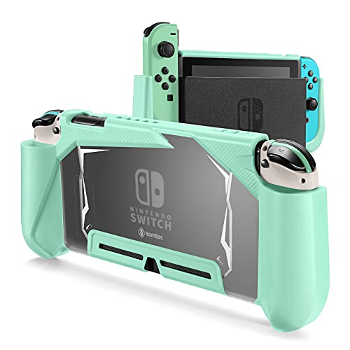 tomtoc Protective Case for Nintendo Switch, TPU Dockable Grip Case with 2 Game Cards Slots, Shock-Absorption and Anti-Scratch Split Cover