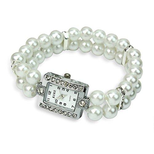 LEORX Donna quarzo bracciale orologio Wirst due fila perla e strass decorato orologio (bianco)