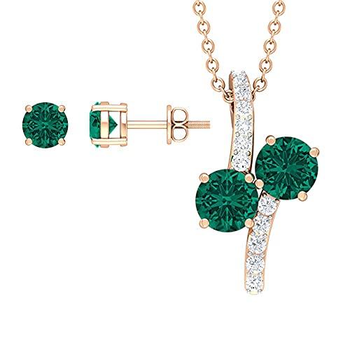 Juego de joyas simples de esmeralda rusa de 2,50 quilates (calidad AAAA) verde