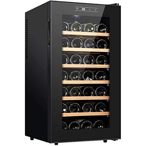LYGACX Enfriador de Vino Nevera de Vino, 28 Botellas de Vino Nevera, Zonas de Temperatura 11-18 ° Pantalla táctil, Vino Frigorífico Negro 75L Baja energía, autoportante gabinete del Vino,A