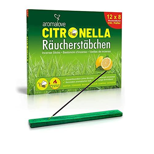 Premium Set aus 12 Packungen Citronella Räucherstäbchen + Räucherstäbchenhalter für...