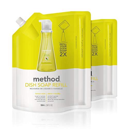 Method Dish Soap Refill, Lemon Mint, 36 Fl Oz (Pack of 2)