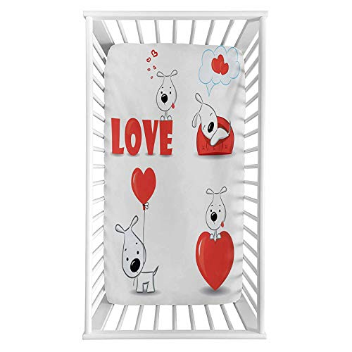 """Love Fitted Crib Sheet,Funny Dogs with Heart Symbols My Pet Best Friends Companions Ever House Animal Theme Microfiber Silky Soft Toddler Mattress Sheet Fitted,28""""x 52""""x 8'',Baby Sheet for Boys Girls"""