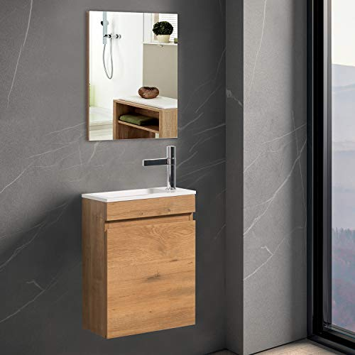 """Bathroom Vanity with Sink for Small Space, TONA 16"""" Bathroom Cabinet with Sink Combo & Mirror, Wood Modern Design Bathroom Sink Vanity Combo Cabinet Set,Wall Mounted,(Faucet/Drain not Included)"""