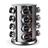 DOUBLE2C Revolving Countertop Spice Racks Stainless Steel Seasoning Storage Organizer for Cabinet, 16 Jars Spice Carousel Tower for Kitchen