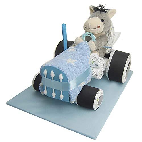 Windeltorte.com - Windeltorte für Jungen   Blauer Windeltraktor - inkl. 20 LILLYDOO Windeln   Geschenk zur Geburt   Taufgeschenk   Geschenk zur Babyparty - Premium Windeltorte (blau)