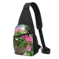 ワンショルダーバッグ メンズ 斜めがけ胸バッグ ボディー肩掛けバッグ 小型手提げバッグ 出張 通勤 通学用 ピンクの花水滴
