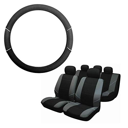 UKB4C Grey /& Black Steering Wheel /& Seat Cover set for Fiat 595C Abarth