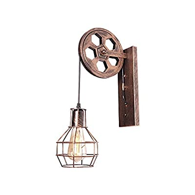 Rustic Pulley Wall Sconces Iron Industrial Single Head Wall Light Fixtures Vintage Indoor Metal Mid Century Lamp for Kitchen Restaurant Dining Room Farmhouse