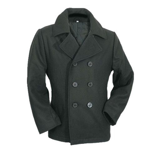 by MMB - Mens Peacoat Schwarz, US-Style Marinejacke PEA Coat Größe M