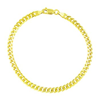 Nuragold 14k Yellow Gold 4mm Solid Cuban Curb Link Chain Bracelet or Anklet Womens Mens Lobster Lock 7  7.5  8  8.5  9