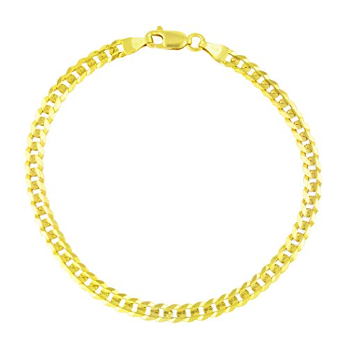 Nuragold 14k Yellow Gold 4mm Solid Cuban Curb Link Chain Bracelet or Anklet, Womens Mens Lobster Lock 7' 7.5' 8' 8.5' 9'