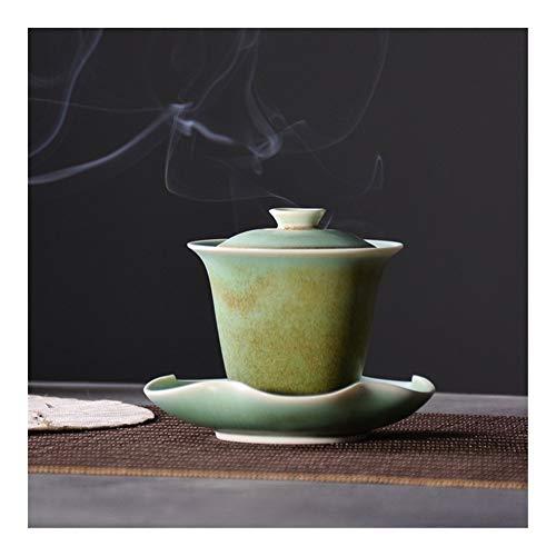 LANGPIAOEZU Diseño Conveniente Cerámica Verde Gaiwan Porcelana Taza de té Chino Kung Fu Juegos de té Vasos El Limpio (Color : Tall gaiwan)