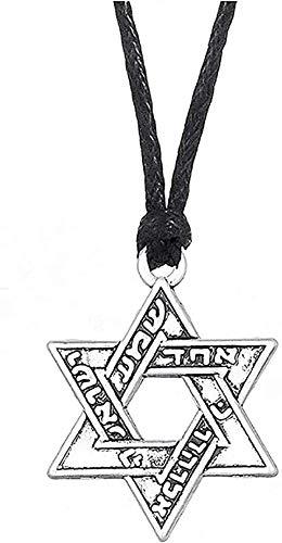 WSBDZYR Co.,ltd Collar con Colgante de Moda, Collar de Estrella, joyería judía, Collar Hebreo Vintage, dijes religiosos para Hombres y Mujeres, Regalo