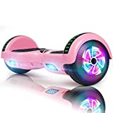FLYING-ANT Hoverboard Self Balancing Scooters 6.5' Flash Two-Wheel Self Balancing Hoverboard with Bluetooth Speaker and LED Lights for Kids and Adults Gift (Pink Bluetooth)