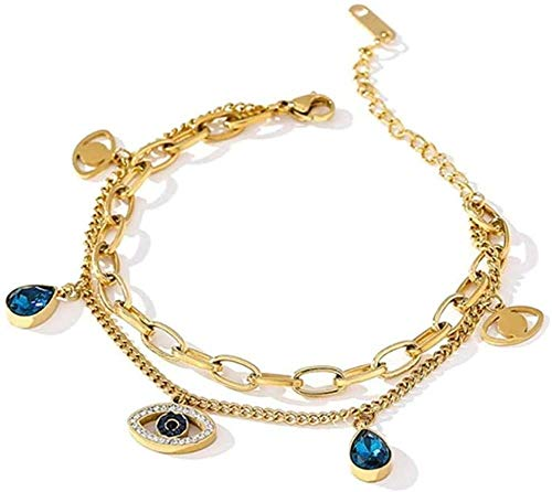 DUEJJH Co.,ltd Collar Exquisito Colgante de Ojo Azul Pulsera para Mujer joyería Moda Temperamento Pulsera Regalo